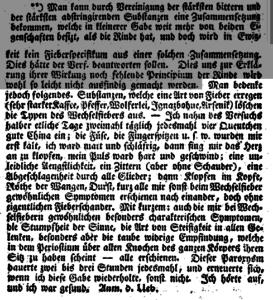 Hahnemann over zijn kinaproef. Voor kritisch commentaar zie ook hier