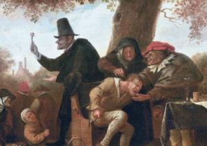 Detail van een schilderij van Jan Steen