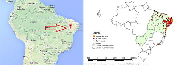 Links de kaart van Brazilië met de pijl die het verkeerde Juazeiro aanwijst, en rechts de verspreiding van het aantal gevallen van microcefalie, waarvan nu onderzocht wordt of er een relatie is met het Zika-virus.